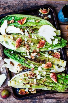 Grilled Romaine Hearts with Figs, Pear and Manchego - Nicky's Kitchen Sanctuary