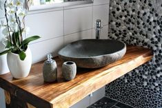THE TILE UNCLE - dream bathroom with river pebble and stone sink (Photo Modern Bathroom, Small Bathroom, Diy Bathroom, Ideas Baños, Sink Shelf, Downstairs Toilet, Stone Sink, Wood Vanity, Vanity Cabinet