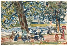 """Park Benches"" by Maurice Brazil Prendergast  ca. 1907-1910 watercolor and pencil on paper at Williams College Museum of Art, Prendergast Archive and Study Center"