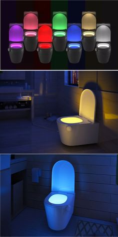 1:This light Only activates in darkness 2: Need 3x AAA Batteries (the battery are not Includes). 3. 7-Color Or Select Color Home Toliet Bathroom Human Body Auto Motion Sensor Seat Light Night Lamp. Desktop Lamp, Led Diy, Night Lamps, Led Lamp, Save Energy, Human Body, Light Colors, Night Light, Darkness