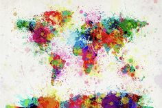 Really cool splatter paint that makes the world map!