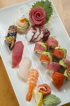 Chef's Omakase Sushi Plate: assorted sushi, nigiri and maki sushi. Sushi Plate, Raw Bars, Wine List, Seafood Restaurant, Plates, Ethnic Recipes, Sushi Platter, Licence Plates, Wine Chart