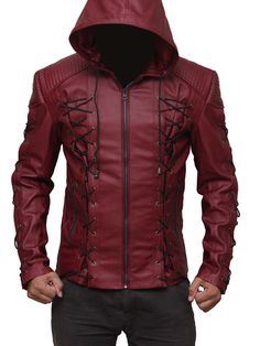 New Red Hooded jacket with hood. Made of best quality leather Arrow leather jacket with Free Shipping in US at fanjackets.com