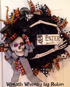 #BooTrendyTree; Skeleton Wreath made for recent customer, Wreath Whimsy by Robin