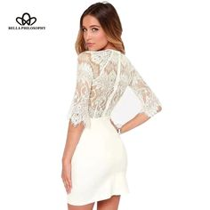 spring summer new elegant sexy women simple solid color stitching white lace sleeve bodycon dress for party