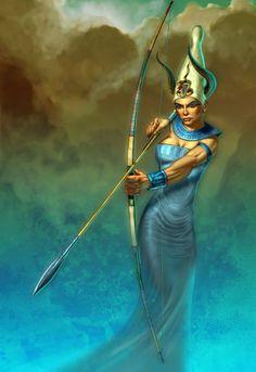 """En la mitología egipcia, Satet (también llamada Satyt y Setet; nombre en griego: Satis; deidad griega: Hera), """"La que vuela como una flecha"""", era una diosa de la guerra, asociada a la inundación, la fertilidad y el amor. Fue la deificación de las inundaciones del río Nilo, y su culto se originó en la antigua ciudad de Syene, Asuán, en el extremo sur de Egipto. Su nombre significa la que dispara continuamente, refiriéndose a la inundación anual del río."""
