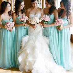 Long bridesmaid dress, bue bridesmaid dress, chiffon bridesmaid dress, cheap bridesmaid dress, sweet heart bridesmaid dress, bds00044
