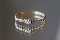 Moissanite engagement ring Vintage Unique diamond Cluster ring rose gold wedding Delicate Bridal set Promise Anniversary Gift for women - Fine Jewelry Ideas Cute Rings, Unique Rings, Beautiful Rings, Pretty Rings, Unique Wedding Rings, Small Rings, Cute Jewelry, Gold Jewelry, Jewelry Rings