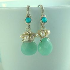 Silver Amazonite Turquoise Drop Earrings Silver by yifatbareket