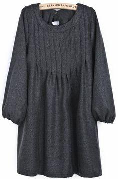 Dark Grey Puff Sleeve Bow Pleated Dress