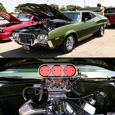 Classic car with power Old Muscle Cars, American Muscle Cars, Grand Torino, Old Scool, Cool Old Cars, Vanz, Ford Torino, Car Ford, Sexy Cars