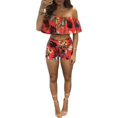 9d5ad7c0cb Two Piece Floral print Set Top And Pants 2017
