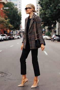 Fashion Jackson Wearing Abercrombie Wool Plaid Blazer Black Tshirt Black Raw Hem Jeans Fall Outfit – T-Shirts & Sweaters