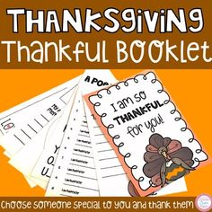 This booklet is a great gift idea for kids to make for someone special! The booklet includes half sheets page 1 -front cover and back cover Page 2- thank you note and 10 things I am thankful for Page 3- Thank you poem and words to describe that special someone Page 4- My favorite thanksgiving memor...