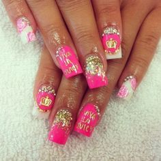 juicy couture nails OMG I WANT THESEEEEE!!!!!! <3 <3 <3 <3 <3 <3