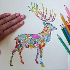 Am terminat de coloraaat primul animalut din carte! E super fun si relaxant. Abia astept sa-l fac pe urmatorul. Luati-va si voi carti de colorat pentru adulti. O sa va placa maxim!  #colors #draw #illustration #milliemarotta #colorful #animals #relax #beauty