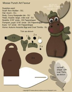 Alex's Creative Corner: Winter Moose Favour - Alex's Creative Corner: Winter Moose Favour - Paper Punch Art, Punch Art Cards, Craft Punches, Owl Punch, Kids Cards, Baby Cards, Keepsake Boxes, Paper Piecing, Craft Fairs
