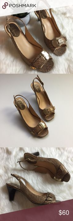 """Cole Haan Snakeskin Open-toe Slingbacks Lovely Cole Haan slingback heels. Open toe. Adjustable buckle at ankle. Buckle over foot is decoration only and does not adjust. Nike Air technology making them super comfortable. 3"""" heel. Size 8AA. Like-new condition. Cole Haan Shoes Heels"""