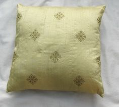 light yellow pillow cover with motif embroidery 16 inch-STOCK CLEARANCE 20% OFF-3 in stock
