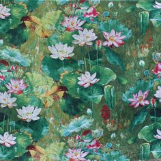 lotus Flower Printed Cotton Linen fabric for Sofa Piliow fabric