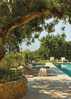 this seems to be exactly as the pool would look ? must not be too modern and the walls around the olive trees are more rustic