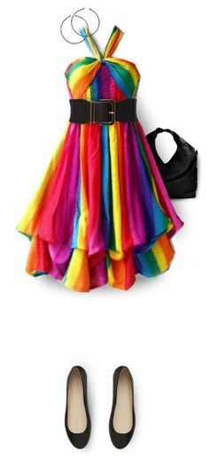 Dress 2 Rainbow Brite is all grown up now! This calls to the little girl in me!Rainbow Brite is all grown up now! This calls to the little girl in me! Rainbow Outfit, Rainbow Fashion, Colorful Fashion, Rainbow Clothes, Rainbow Dresses, Funky Fashion, Pride Outfit, Trends 2018, Dress Outfits