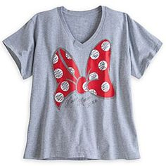 Disney Minnie Mouse Bow Tee for Women - Plus Size | Disney StoreMinnie Mouse Bow Tee for Women - Plus Size - Minnie's soft, heathered v-neck tee sparkles with her signature polka dot bow and ''autograph'' for starry times around the clock.