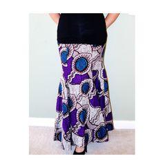 African Maxi Skirt, Purple African Ankara Print Maxi Skirt -Romantic Maxi Skirt Long cotton Skirt- Maxi Skirt By Zabba Designs