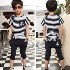 e98afd8484611 Children s clothing set baby boy suit set cotton Boy s Suit striped short  sleeve t-shirts+trousers