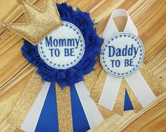Items similar to Royal baby corsage - Gold baby corsage - Daddy to be pin - Mommy to be pin -Blue shower corsage - Gold baby shower corsage on Etsy Baby Corsage, Mommy To Be Pins, Sterling Grey, Glitter Ribbon, Gold Baby Showers, Baby Shower Gender Reveal, New Parents, Kid Names, Colorful Flowers
