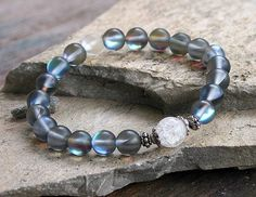 Beautiful frosted plated crystal gemstone wrist by look4treasures
