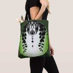 Black Wisteria Floral Motif accent Green Tote Bag - accessories accessory gift idea stylish unique custom