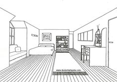 An age-old teaching exercise, the one-point perspective drawing of a room never fails to engage students. This example illustrates how the basic one point perspective 'box' can be cut and modified to create a more complex interior space. (Art resources for teachers created by Amiria Robinson – www.studentartguide.com)
