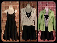 Another sale rack find!  Max Rave black dress adjustable straps, pockets M $10; Ann Taylor white  v-neck sweater S $11; Eddie Bauer lime green jacket S $14  Discounts taken at register.