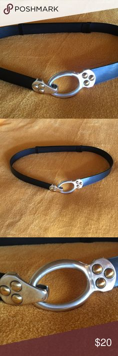 """Chico's Belt Adjustable back, hook closure in the front. Fully extended, belt measures about:44"""" from hook end to end. There is a ton of adjustment in this belt, it can be retracted to about27"""", but is sized M/L. Purchased and never worn, like new. Chico's Accessories Belts"""