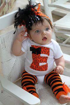 Baby Girl Halloween Outfit  initial onesie by DarlingLittleBowShop, $49.95.   ADORABLE!!