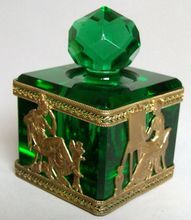 Antique French Empire Dore Bronze and Crystal Inkwell