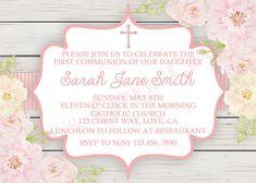 Flores primera comunión invitación, Digital, archivo, imprimir