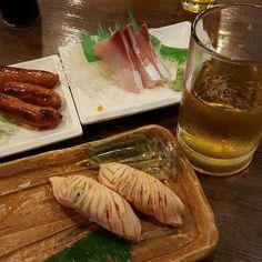 #dinner #beer #chorizo #hamachi #aburi ....