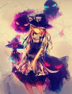 Ghost Pokemon and their trainer -- hmm, cosplay time? If I could only sew...kinda looks like Marisa from touhou