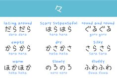 Onomotopea and adjectives. -- Japan, Japanese words, vocabulary, learning different languages, infographic Learn Japanese Words, Study Japanese, Japanese Kanji, Learning Japanese, Japanese Quotes, Japanese Phrases, Japanese Language Lessons, Korean Language, Language Study