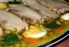 schab środkowy: 1 kilogram sól i pieprz: 1 szczypta majeranek do smaku: 1 szczypta czosnek do smaku ok. 2 ząbków: 2 sztuki jajka: 8 sztuk chrzan w słoiczku do smaku około: 1 łyżka majonez do smaku około: 2 łyżki natka pietruszki do smaku około: 1 łyżka żelatyna w zależności od ilości bulionu: 20 gramów przecedzony przez gazę bulion drobiowy: 1 litr jajka do dekoracji około: 2 sztuki marchewka do dekoracji około: 100 gramów groszek do dekoracji około: 100 gramów   Schab natrzeć...