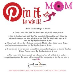 Pick Your Mom's Style Contest by Gandhara Designs Gift Certificates, Sunday Morning, Pinterest Board, Mom Style, My Best Friend, Love Her, Boards, Giveaways, Gifts