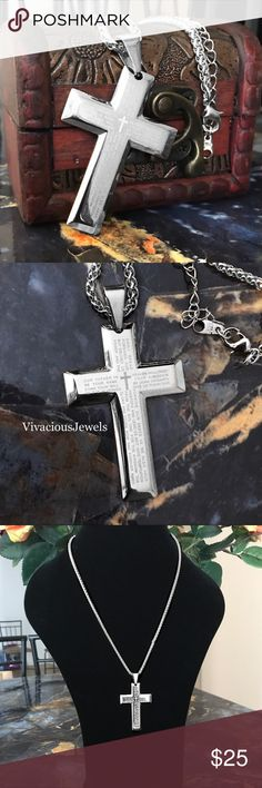 """Stainless Steel Lord's Prayer Cross Necklace Brand new Price firm No trades Gift box included  Metal: Stainless steel Color: Silver Finish: Polished Cross: 2"""" Chain: 24""""  Cross has the our father prayer on the cross in white letters.  Stainless steel does not rust or turn the skin green. Not sterling silver. Color will not fade. Accessories Jewelry"""