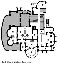 Boldt Castle - FOUNDATION (BASEMENT) LEVEL 1. Hall 2. Passage Way 3. Swimming Pool 4. Lounge 5. Passage Way 6. Organ Mechanics 7. Storage 8. Boiler Room  9. Passage Way 10. Tunnel To Grounds 11. Dressing Rooms B – Bakery E – Elevator Shaft F – Fireplace    foundation_plans_of_boldt_castle1