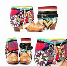 ☯☮ॐ American Hippie Bohemian Style DIY Crafts ~ Boot Wraps! : Make your own Boho boot wraps . . be creative!: