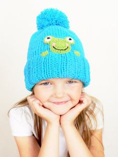 Knit Winter Hat for Kids, Girls Boys Pom Pom Hat with Frog, Turquoise beanie with Green Frog, Toddler Child Teens Hat, Made to order