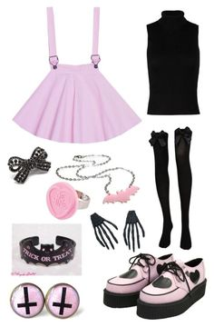 """""""Pastel Goth"""" by pipertehcat ❤ liked on Polyvore featuring New Look, CO, Pink Mascara, women's clothing, women's fashion, women, female, woman, misses and juniors Nail Design, Nail Art, Nail Salon, Irvine, Newport Beach"""