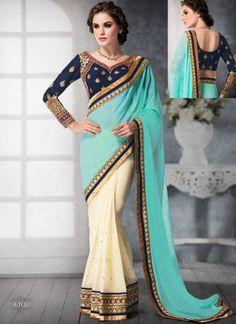 Amazing Turquoise And Cream Half Georgette Casual Sarees