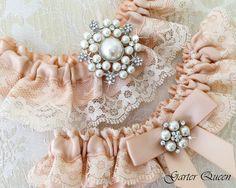 BLUSH Wedding Garter Lace Wedding Garter Set Bridal by GarterQueen, $45.00